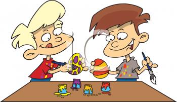 7752_0511-0809-1512-0412_Children_Painting_Easter_Eggs_Clip_Art_clipart_image