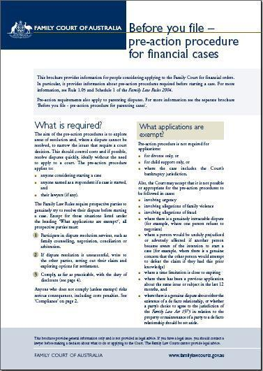 Before you file- pre-action procedure in financial cases