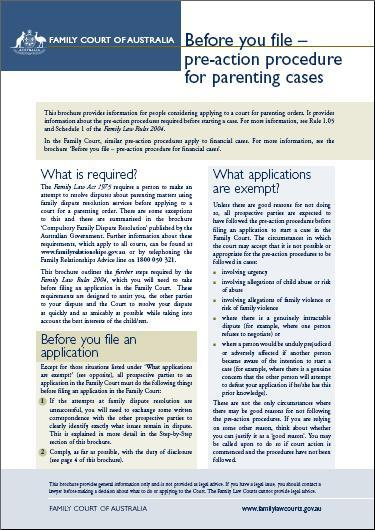 Before you file- pre-action procedure in parenting cases