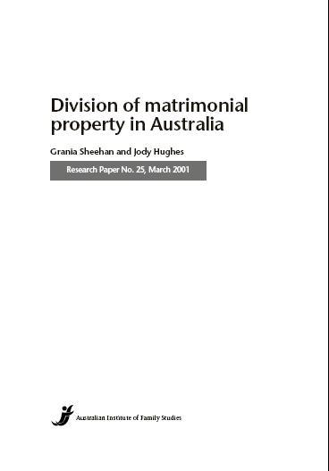 Division of Matrimonial Property in Australia