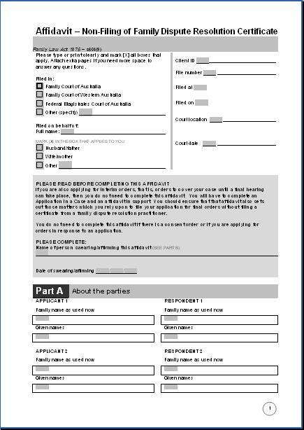 Affidavit- Non-filing of Family Dispute Resolution Certificate